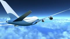 Airplane flying over clouds - stock footage