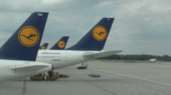 Lufthansa Airplanes Parked at Munich Airport - Full HD Stock Footage