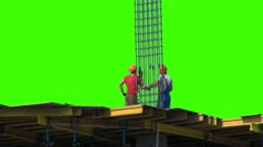 Two of the builder on a green screen Stock Footage