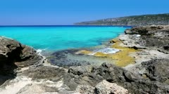 Beautiful rocky shore beach escalo in balearic islands Stock Footage