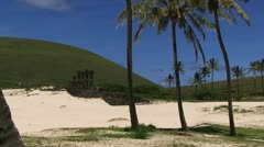 Easter Island beach Stock Footage