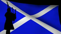 Bag piper in kilt silhouette with rippling Scottish flag animation Stock Footage