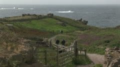 Country trail to the Atlantic ocean at Land's End, UK Stock Footage
