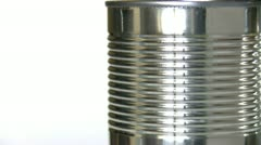 Rotating shiny metal can - stock footage