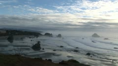 Oregon coast Bandon beach with blue skies Stock Footage