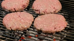 Barbequed hamburgers Stock Footage