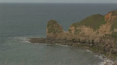 Normandy D-Day cliffs WWII, Pointe du Hoc France Stock Footage