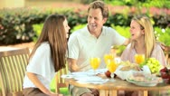 Stock Video Footage of Caucasian family sharing healthy lunch