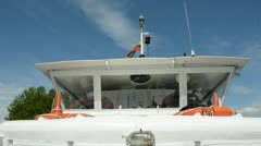 River boat  with lithuanian national flag Stock Footage