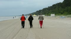 Walking on the Jurmala beach in Latvia Stock Footage