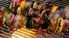 Meat shish kebob on grill Stock Footage