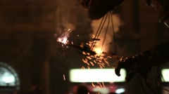 Correfoc fire festival street or the fire run Stock Footage