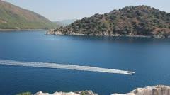 boat in a quiet bay, Turkey, Marmaris - stock footage