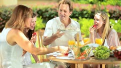 Outdoor healthy picnic of young family     Stock Footage