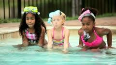 Multi ethnic girls enjoying healthy activity in water   Stock Footage