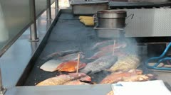 Fish on BBQ Grill Stock Footage