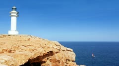 Barbaria cape Formentera lighthouse in mediterranean sea - stock footage