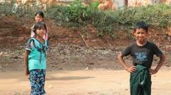 Children in Takhaung Mwetaw Paya pagoda, Inle lake Stock Footage