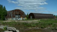Two abandoned hangars Stock Footage