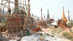 Restoration work in Takhaung Mwetaw Paya pagoda, Inle lake Stock Footage