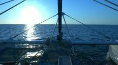 Catamaran, sailing to sunrise, Cuba Stock Footage