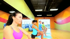 Health Club Members in Exercise Class Stock Footage