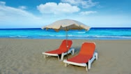Idyllic shore beach turquoise water hammock and parasol Stock Footage