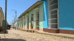 Typical colonial street of Trinidad, Cuba Stock Footage