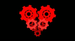 Heart gear animation with alpha channel Stock Footage