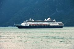 Cruise ship Staterdam departs Skagway Alaska - stock photo