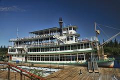 Fairbanks Alaska historic steam paddle wheel dock - stock photo