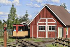 Fairbanks Alaska Pioneer Park railroad - stock photo