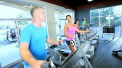 Members Exercising at Gym Stock Footage
