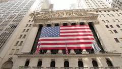New York Stock Exchange NYSE Wall Street pan 30p - stock footage