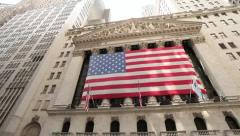 New York Stock Exchange NYSE Wall Street pan 25p Stock Footage
