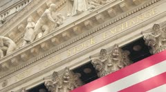 NYSE New York Stock Exchange Wall Street tight 30p - stock footage