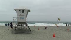 San Diego Mission Bay Beach 07 lifeguard station Stock Footage