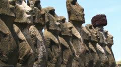Row of Moai on Easter Island Stock Footage