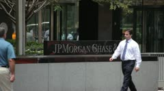 JP Morgan Chase sign at New York City headquarter building - stock footage