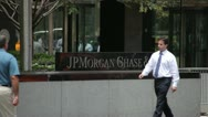 Stock Video Footage of JP Morgan Chase sign at New York City headquarter building