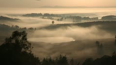 Early morning mist over Kwazulu-natal Midlands South Africa. Stock Footage