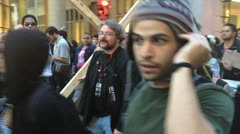 NEW YORK - MAY 1, 2012: An Occupy Wall Street Protestor dresses up as Jesus Stock Footage