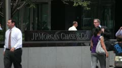 JP Morgan Chase sign at New York City headquarter building 25p - stock footage
