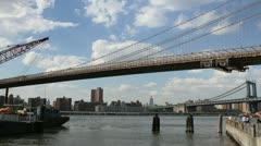 NEW YORK - MAY 1, 2012: The East River Ferry picks up passengers to bring to Stock Footage