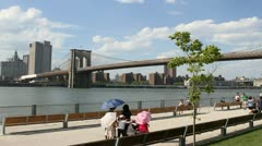 NEW YORK - MAY 1, 2012: Pedestrians enjoywalks and views of Manhattan & New York Stock Footage