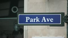 Park Ave Avenue New York City sign 24p Stock Footage