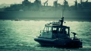 San Diego US Naval Base Security Guard Boat 05 stylized Stock Footage