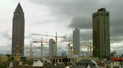huge numbers of cranes at work - stock footage