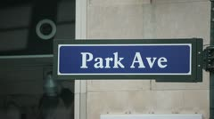Park Ave Avenue New York City sign 25p Stock Footage