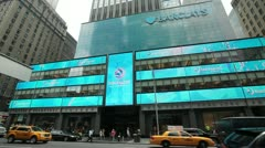 Barclays office building in New York City front 24p Stock Footage